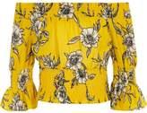 River Island Girls yellow floral print shirred bardot top