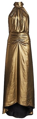 Halston Ruched Metallic Gown