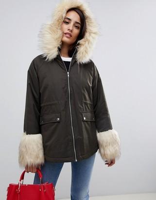 Asos Design ASOS Parka with Faux Fur Collar and Cuff