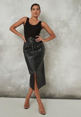 Missguided Black Faux Leather Buckle Midi Skirt