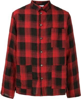Bergfabel plaid printed shirt jacket