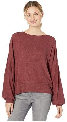 Miss Me Split Back Long Sleeve Pullover (Rust Brown) Women's Blouse