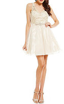 Sequin Hearts Metallic Lace Bodice Fit-and-Flare Party Dress