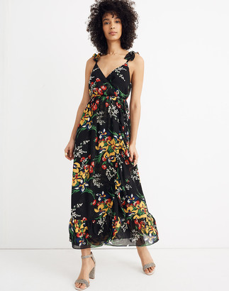 Madewell Ruffle-Strap Wrap Dress in Orchid Bouquet