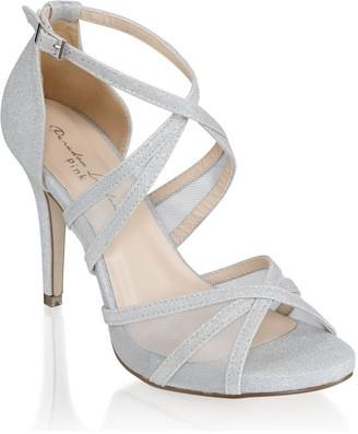 Linzi Paradox London Hinoa Silver High Heel Ankle Strap Sandals