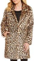 Calvin Klein Leopard Print Faux Fur Coat