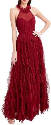 Highneck Sleeveless Frill Gown