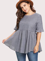 Shein Pinstriped Tie Back Babydoll Blouse