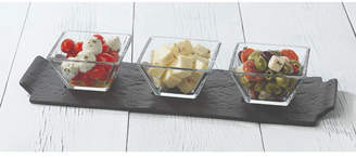 Libbey Slate Rectangular Server with 3 Bowls