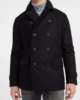 Express Black Water-Resistant Wool-Blend Peacoat