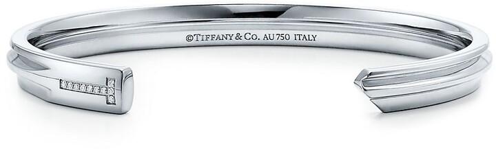 Tiffany & Co. Keys modern keys narrow cuff in 18k white gold with diamonds, small