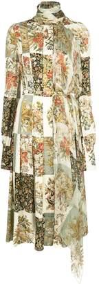 Oscar de la Renta floral squares printed dress