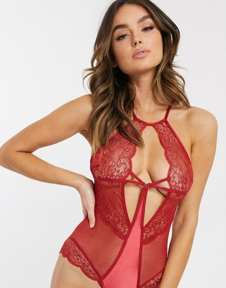 Hunkemoller Rapheal lace high neck bodysuit in red