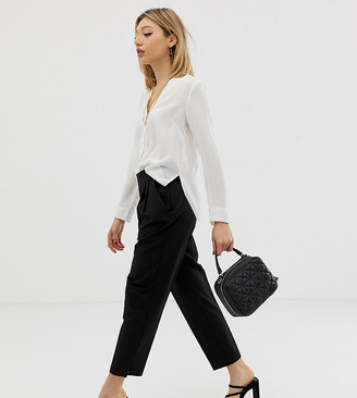 Asos DESIGN Petite high waist tapered trousers-Black