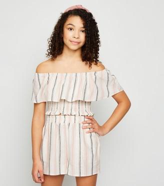 New Look Girls Stripe Shirred Linen Blend Top