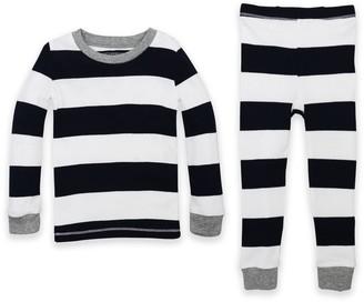 Burt's Bees Baby Baby& 2-Piece Rugby Stripe Organic Cotton Pajama Set in Navy
