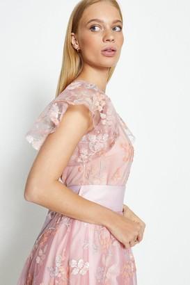 Coast Embroidered Flute Sleeve Midi Dress