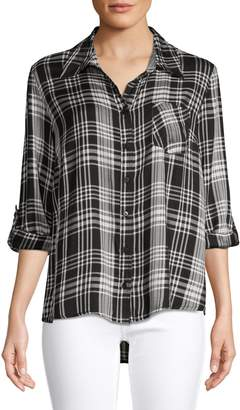 Style&Co. Style & Co. Petite Roll-Tab-Sleeve Button-Down Plaid Shirt
