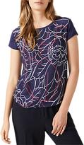 Jigsaw Floral Silk Front T-Shirt, Navy