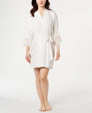 Linea Donatella Graciela Lace-Trim Satin Wrap Robe