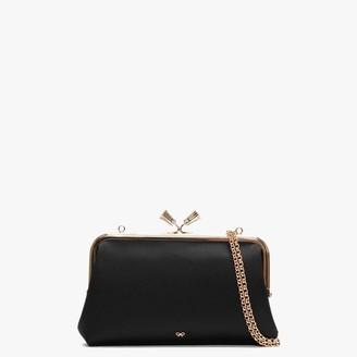 Anya Hindmarch Maud Tassel Black Recycled Satin Clutch Bag