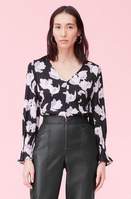 Rebecca Taylor Ikat Blossom Silk Jacquard Top