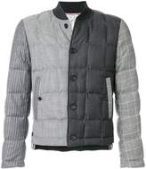 Thom Browne Downfilled Button Front Jacket In Funmix In Prince Of Wales Heavy Wool