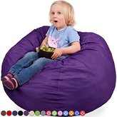 Oversized Bean Bag Chair in Radiant Orchid - Machine Washable Big Soft Comfort Cover & Memory Foam Filler - Cozy Lounger & Bed - Kids & Teens Love This Huge Sack - Indoor Furniture By Panda Sleep