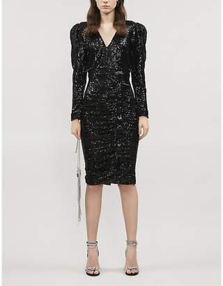 Lavish Alice V-neck ruched sequinned dress
