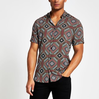 River Island Mens Navy printed short sleeve slim fit shirt