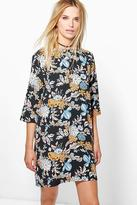 Boohoo Malia Floral 3/4 Sleeve Shift Dress