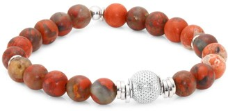 Tateossian Stonehenge Rainbow Jasper Mesh Beads and Sterling Silver Bracelet