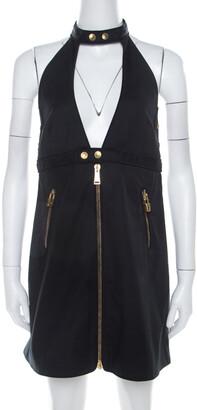DSQUARED2 Black Stretch Cotton Backless Halter Mini Dress M