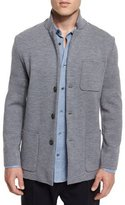 Vince Button-Down Wool Knit Blazer, Heathered Cinder