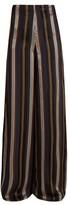 Roksanda Arneau Striped Satin Trousers - Womens - Green Multi