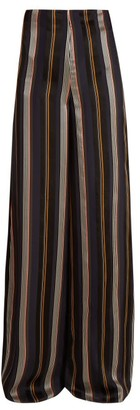 Roksanda Arneau Striped Satin Trousers - Green Multi