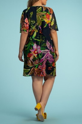 Trina Turk Rainforest Silk Floral Printed Flutter Sleeve Dress