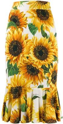 Dolce & Gabbana Sunflower Print Skirt