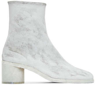 Maison Margiela Grey and White Painted Mid Heel Tabi Boots