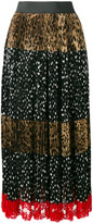 Dolce & Gabbana leopard and dot print skirt - women - Cotton/Polyamide/Polyester - 40