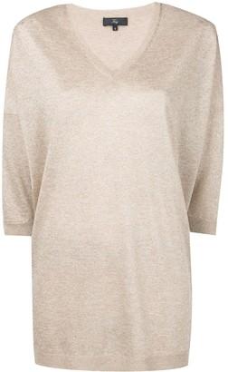 Fay metallic V-neck jumper