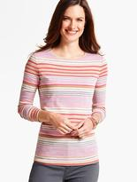 Talbots Long-Sleeve Crewneck Tee-Mixed Stripes