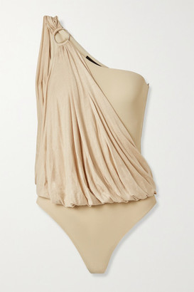 Marika Vera Lee One-shoulder Draped Stretch-jersey And Mesh Thong Bodysuit - Beige