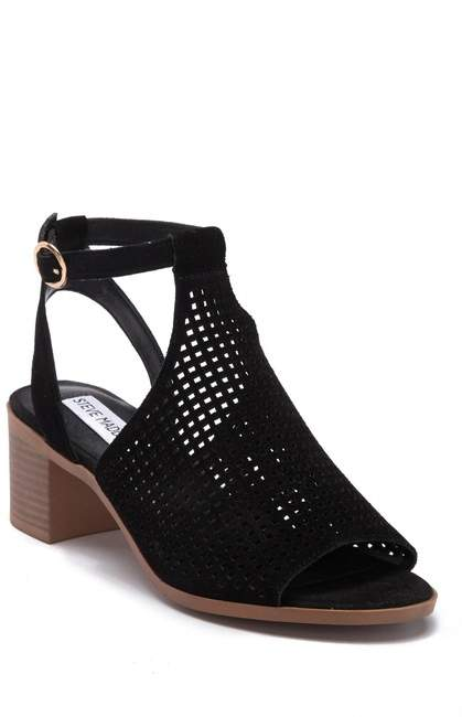 Steve Madden Barlow Open Toe Perforated Suede Sandal