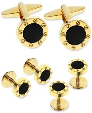 Rhona Sutton Sutton by Men's Gold-Tone 3-Pc. Set Stone Cufflinks & Tuxedo Buttons