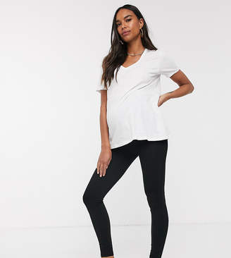 New Look Maternity ponte zip leggings in black