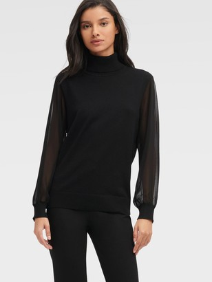 DKNY Women's Turtleneck Sweater With Woven Sleeve - Black - Size XX-Small