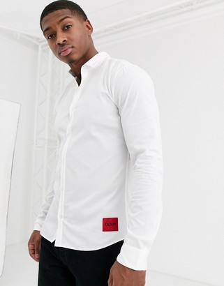 HUGO Ero3 slim fit shirt with contrast box logo in white