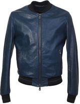 Dolce & Gabbana Blue Leather Bomber Jacket