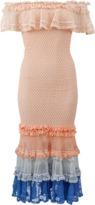 Jonathan Simkhai Ruffle Crochet Off Shoulder Gown